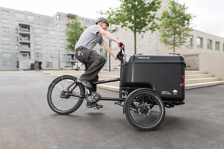Man Riding Cargo E Bike