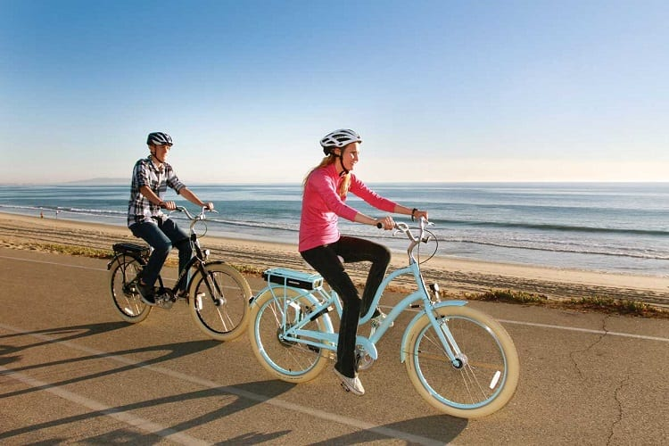 Couple Riding E Bikes