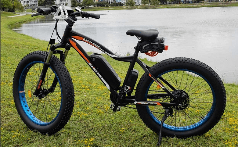 fat tire electric bike by the lake