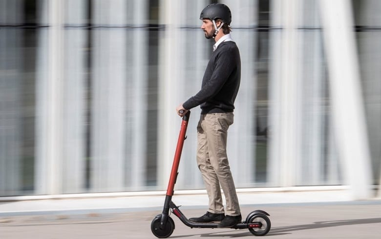 commuting with electric scooter